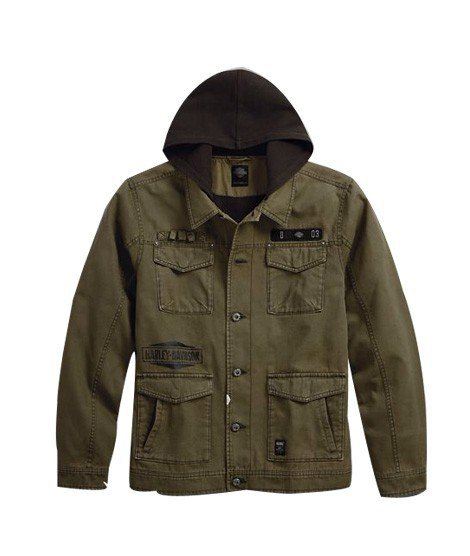 harley davidson hooded canvas slim fit men s jacket 97433 18vm