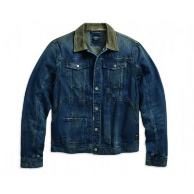 corduroy accent denim trucker jacket